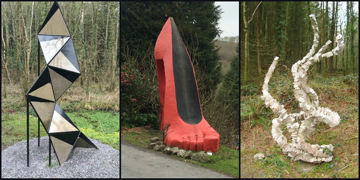 Broomhill sculptures with red shoe