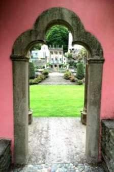 pink archway Portmeirion