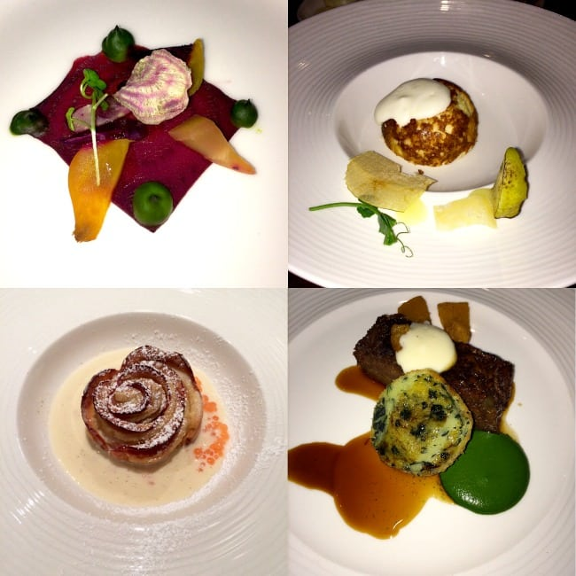 Tasting menu dishes Aviator Hotel