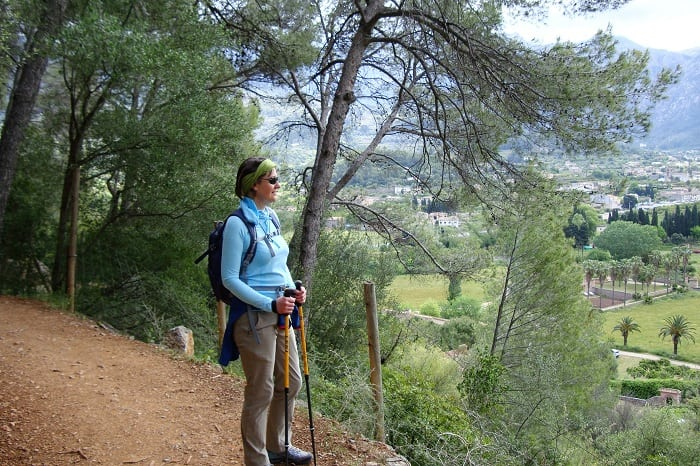 walker in hills above Soller
