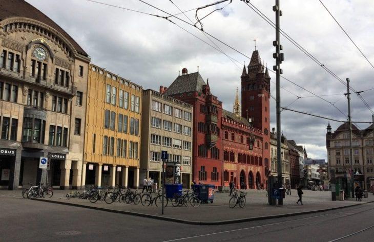 Basel Marktplatz with Rathaus