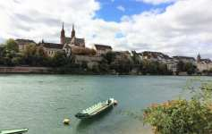 Old Town of Basel and river Rhine