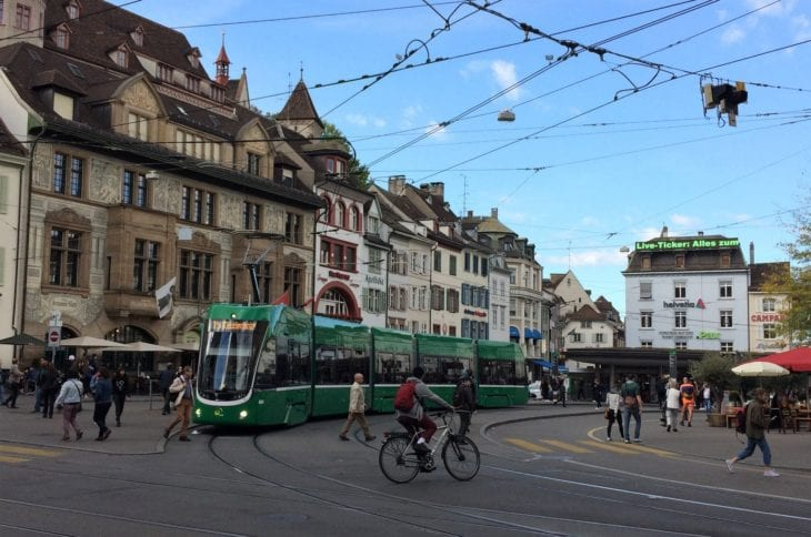 Tram in the old town of Basel
