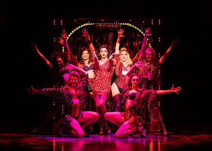 Callum Francis as Lola pluus Angels in Kinky Boots