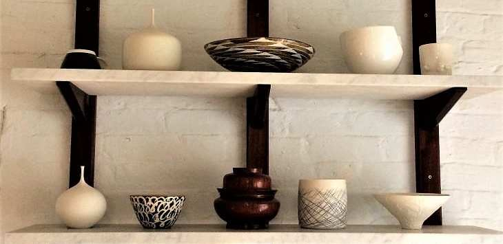 Ceramics on shelf of Five Acre Barn