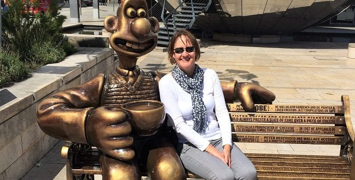 TRish with Wallace on the gromit Unleashed 2 sculpture trail