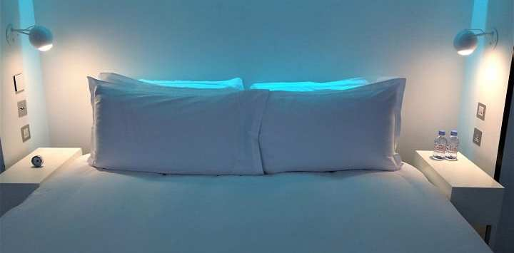 St Martins Lane hotel bedroom lighting blue