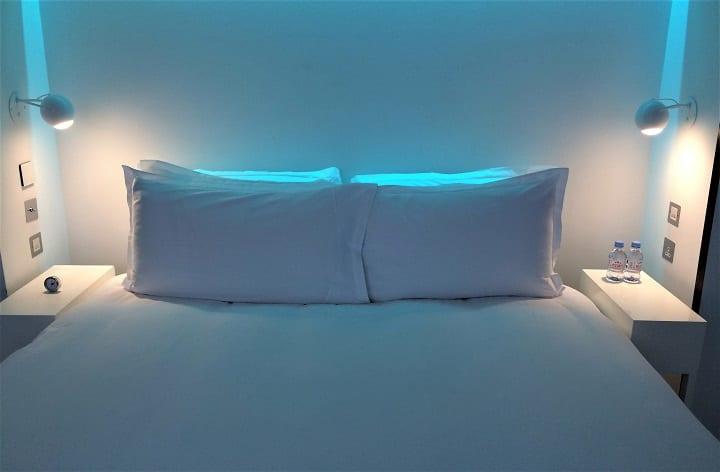 St Martins Lane hotel bedroom lighting blue