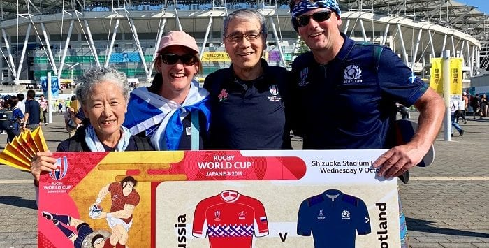 Japanese and Scottish rugby supporters, Shizuoka