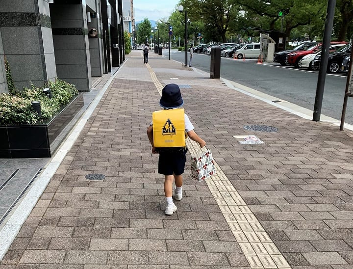 Japanese child walking home from school
