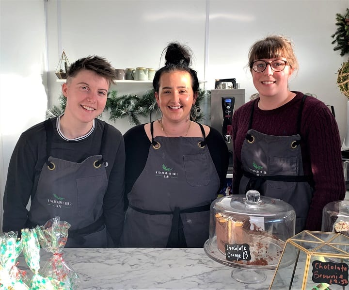 Ayscoughfee Hall Cafe - managers Sarah Hall and Ellie Clay with team member, Emily Booth