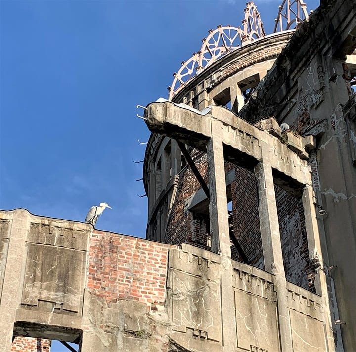 Japanese crane on Atomic Bomb Dome, Hiroshima