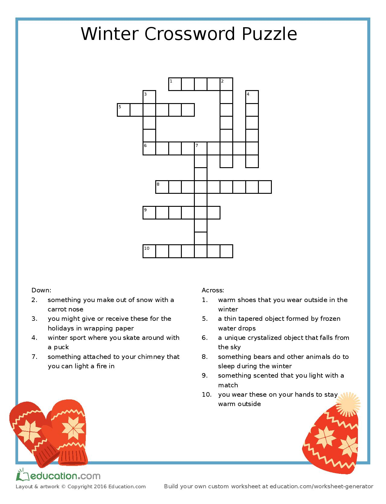 A Winter Crossword To Keep The Children Busy Mum S Guide To