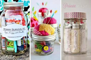 I love Mason Jars for storage and organisation, but they're also brilliant for creating DIY gifts and they come into their own at Christmas, as there are so many brilliant ideas on how to use them to craft unique gifts for friends and family. I've put together a curation of some of my favourites that I turn to, including the brilliant mummy survival kit in a jar, a brilliant tutorial on Craftsy for how to create a crochet cover for a Mason Jar - very of the moment if you want to give someone a plant in a mason jar to hang up. there's also a pedicure in a jar DIY idea and a tutorial on how to make a Mason Jar into a pin cushion. #MasonJarChristmasGift
