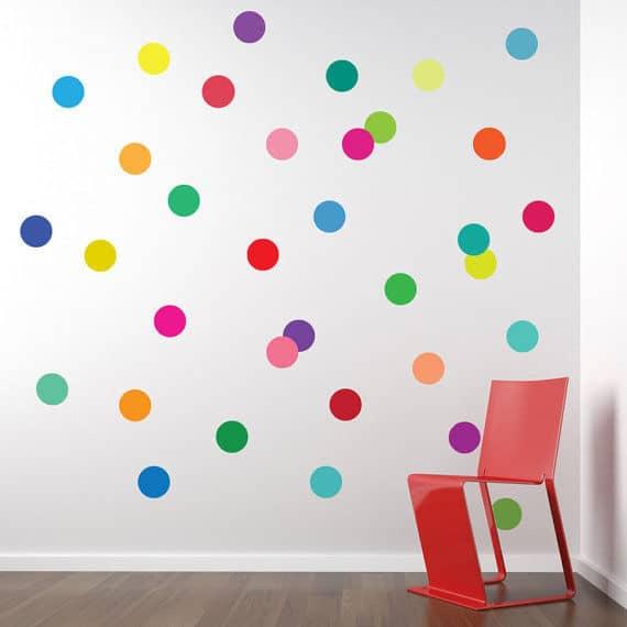 Confetti rainbow polka dot decals