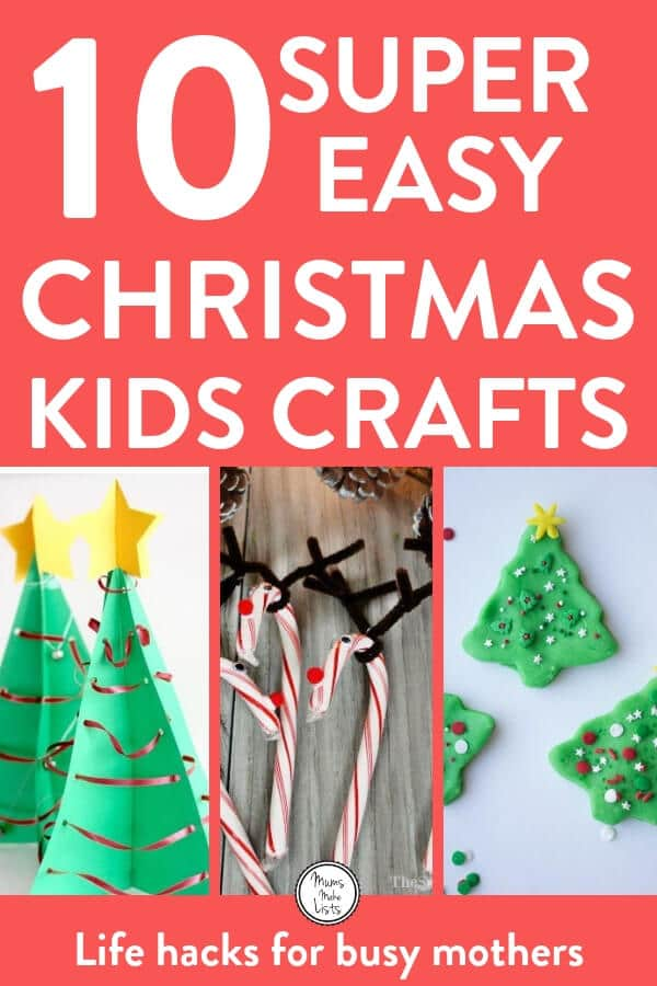 Christmas crafts for kids to make! Here are ten super easy Christmas crafts for kids to make on their own - or with minimal help. We've got paper based crafts, Christmas card and decoration ideas. There's also a lovely lolly stick idea and one using pipe cleaners. My favourite's involve scented salt dough and play dough. Take a peak and see what you can get your kids making this Christmas time - the beauty of these easy crafts is that busy mums can set their kids up and then get on with Christmas preparations in peace! #ChristmasCraftsForKids