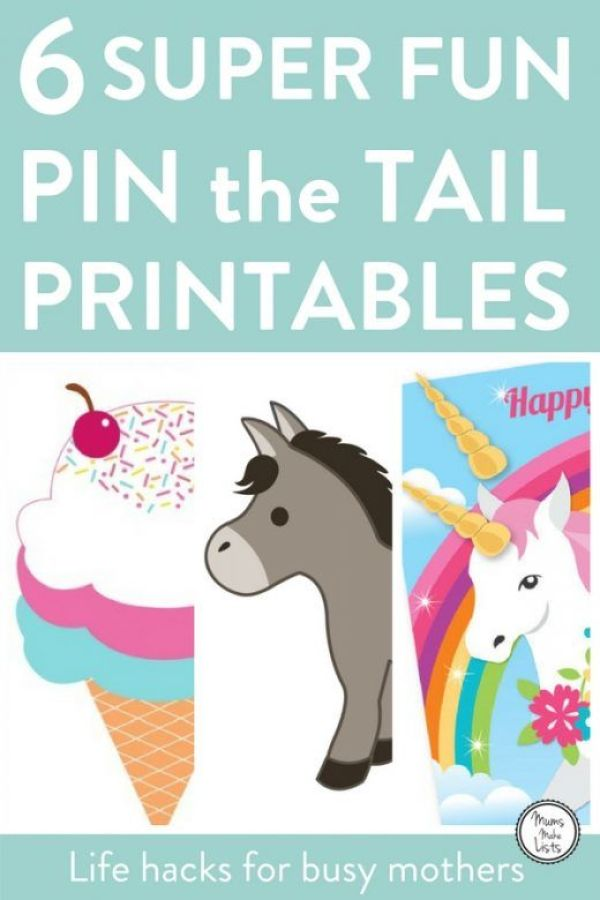 6 super bright and fun pin the tail printables, each a take on the classic kids party game pin the tail on the donkey. This is an easy, fun indoor party game for young children to play as a kids birthday party game. We've rounded up six of the loveliest pin the tail printables that are either free or great value. #KidsParty #KidsPartyideas #childrensparty #childrenspartyideas