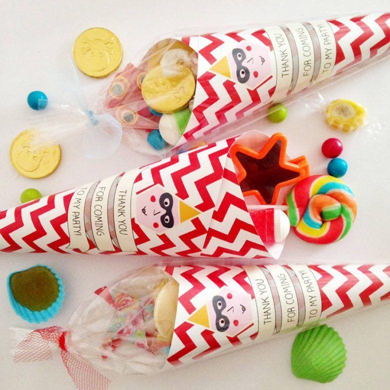 Alternative kids party bag favour ideas, pre-filled party cones