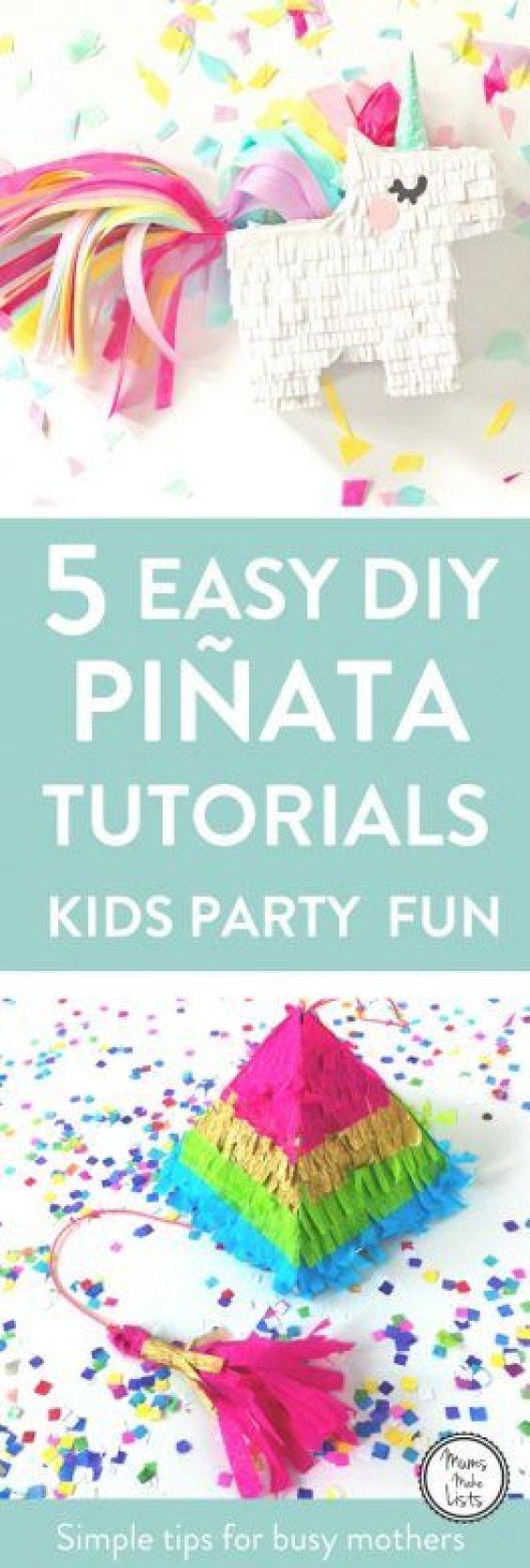 DIY Piñata tutorials - 5 brilliant tutorials on how to make a homemade piñata.These ideas are all perfect for kids birthday party piñatas. #pinata #KidsParty #KidsPartyideas #childrensparty #childrenspartyideas