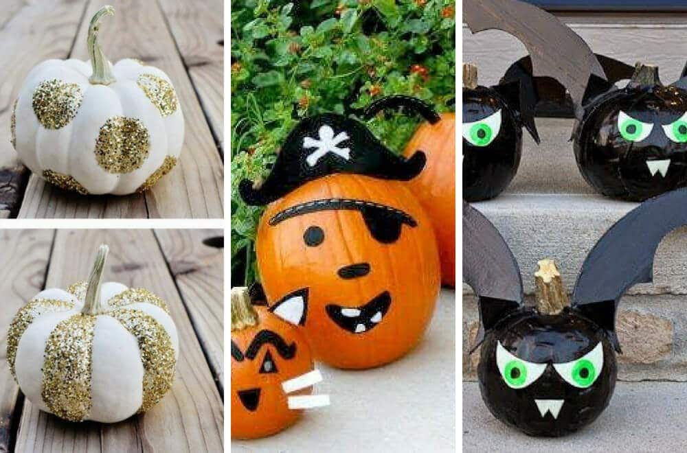 No time to carve an amazing pumpkin for Halloween? Use our list of no carve pumpkin decorating ideas to create a pumpkin to turn heads with minimal effort. #Halloween #HalloweenDecorating #pumpkin #pumpkineverything #HalloweenParty #Lifehacksforbusymothers