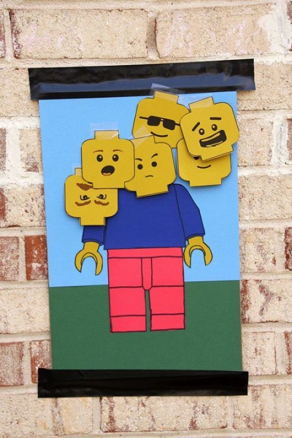 Pin the head on the Lego person #KidsParty #ChildrensParty #KidsPartyIdeas #ChildrensPartyIdeas