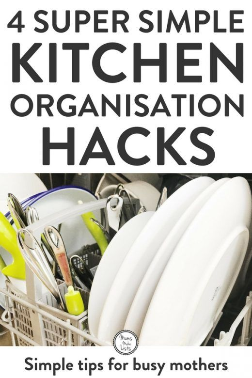 Organize kitchen - Four super simple tips and hacks that help you keep your kitchen organized. #KitchenOrganization #kitchen #Organisation #Organization #OrganizationTips #OrganizationIdeas
