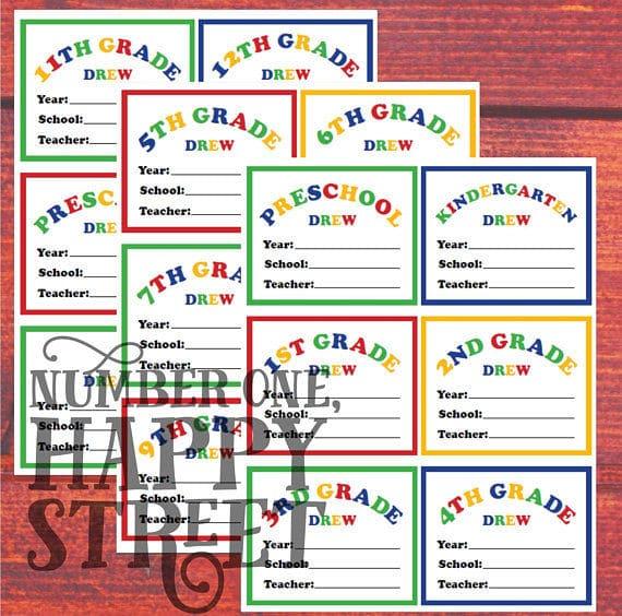 Etsy, CUSTOM School Memory Box supplies - Folder Labels for Preschool thru 12th Grade, 3 (three) 8.5x11 sheets for immediate download