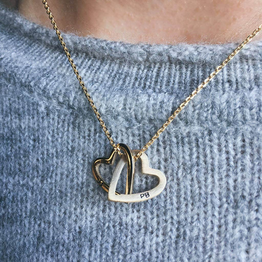 original_solid-rose-gold-interlocking-hearts-necklace, unusual gift idea for mum, unusual mother's day gift