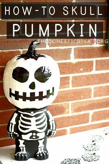 Easy no carve pumpkin for Halloween - duct tape skull
