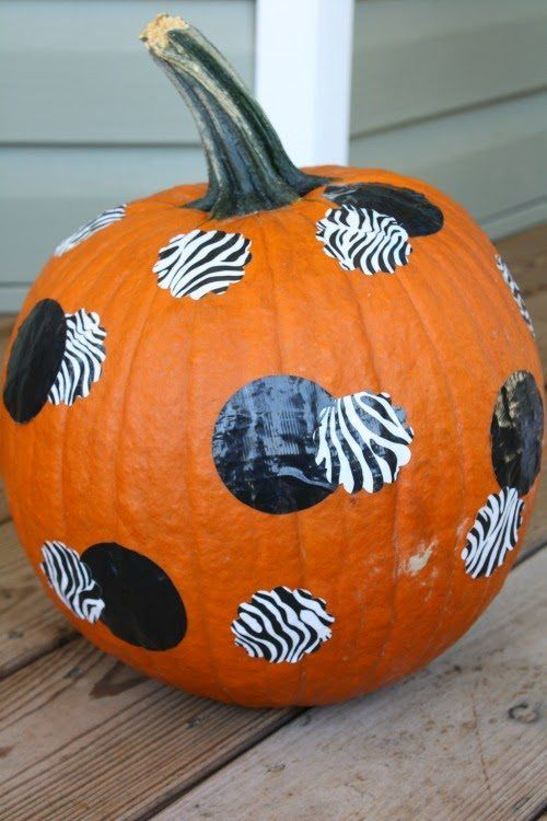 Easy no carve pumpkin for Halloween - duct tape