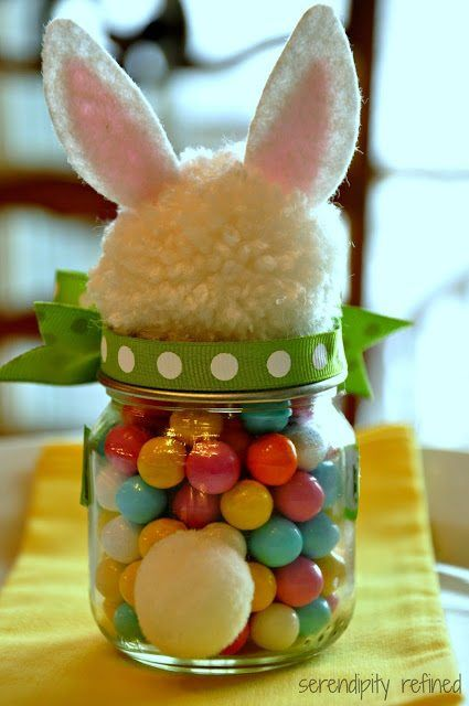 Fluffy Easter Bunny Candy Filled Mason Jar Tutorial