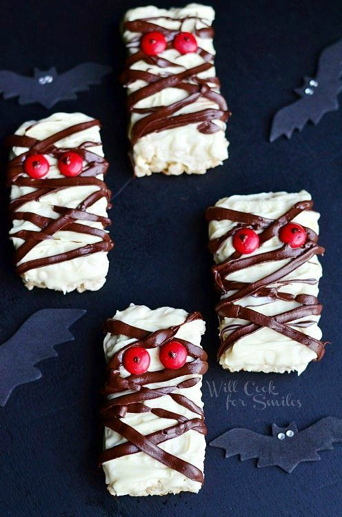 Fast and easy Halloween treats ... double chocolate rice krispie mummies from Will Cook for Smiles, Halloween party food ideas for kids