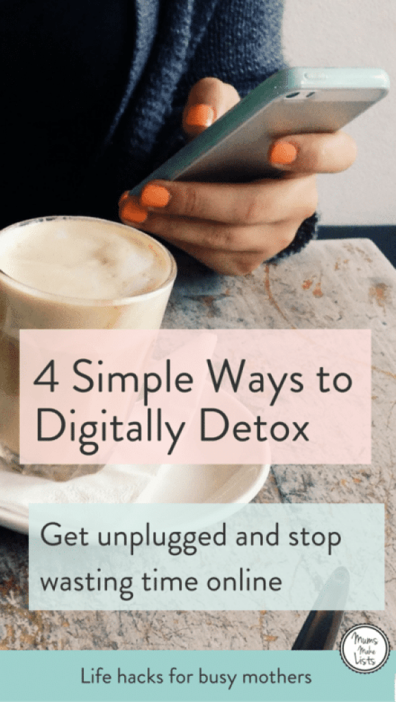 4 simple tips on how to digitally detox and get unplugged from devices and social media so you have more time to get stuff done. Health and wellness can be seriously impacted by digital addiction. If you worry about how much time you waste online each day, these are 4 very simple things you can do to reclaim your time for your own and cure yourself of your digital addiction. Pin for Later! #NewYear #NewYearResolution #Detox #HealthandWellness