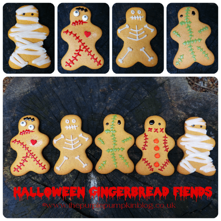 Fun Halloween Party Food - Halloween gjngerbread fiends made from gingerbread men, Halloween food