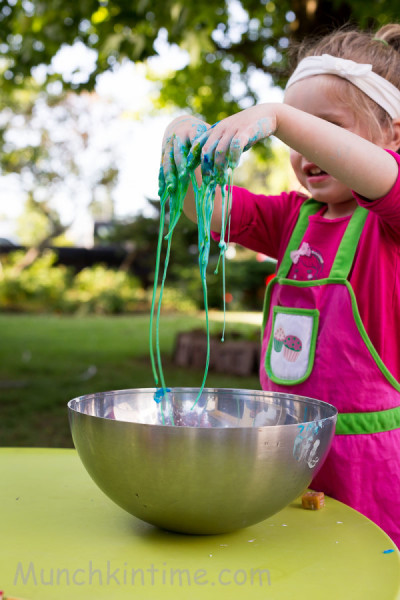 http://www.munchkintime.com/how-to-make-slime-using-just-2-ingredients/