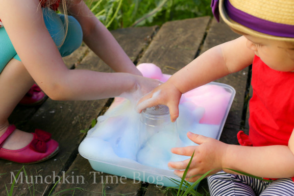 Fun Activity for Kids Foam Clouds Sensory Play - www.munchkintime.com #sensoryplay #kidsactivities-