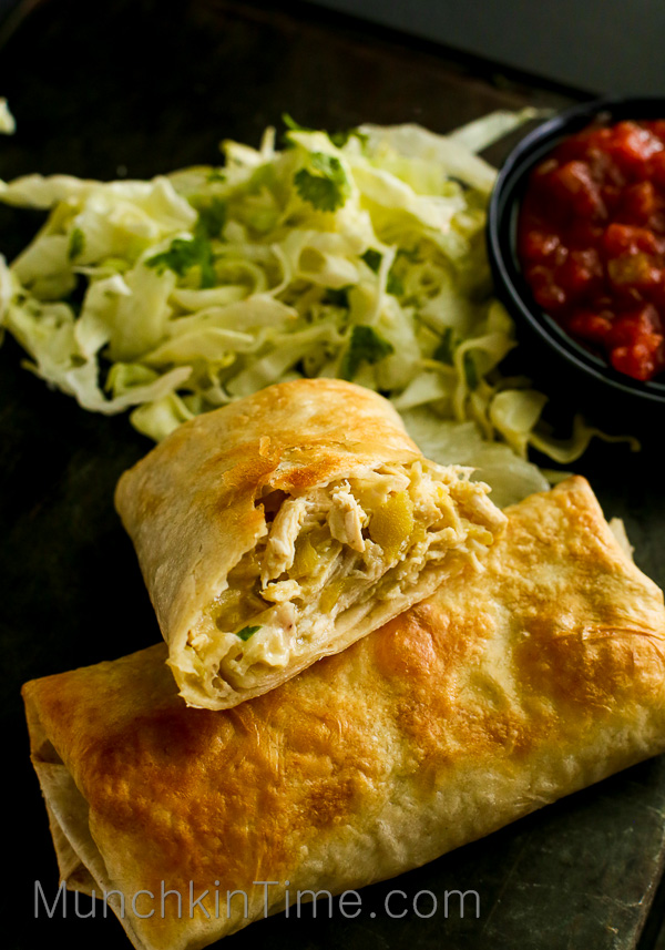 Easy Chicken Chimichanga Recipe made of 5 simple ingredients, perfect Mexican dish dinner idea. #EasyChickenChimichangaRecipe -- www.munchkintime.com-easy-chicken-chimichanga-recipe