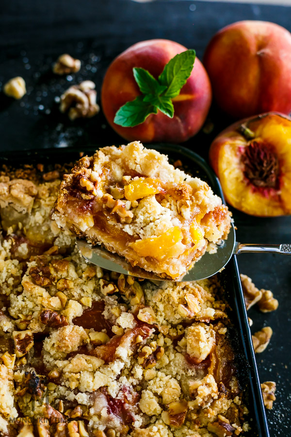 Scrumptious Peach Pie Walnut Bars Recipe - it is so GOOD!!!