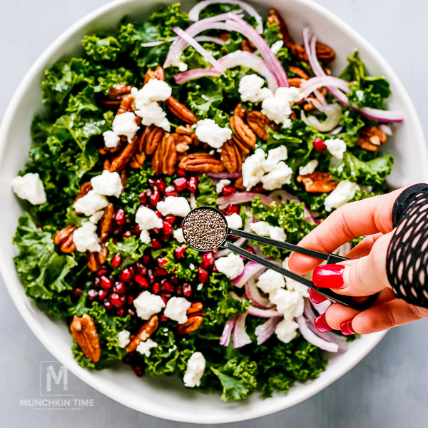 Healthy Pomegranate Kale Salad Recipe from Munchkintime.com