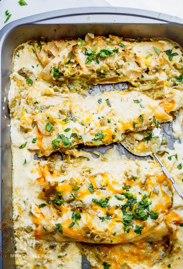 Creamy White Sauce Chicken Enchiladas Recipe Munchkin Time