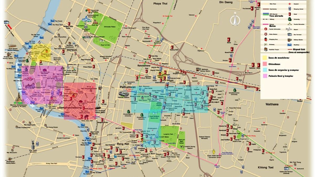 Mapa De Bangkok Y De Su Transporte Publico Skytrain Y Metro