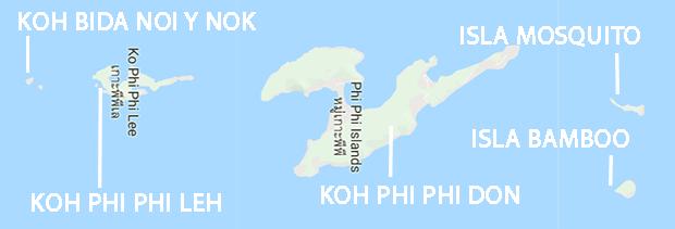 Mapa de las Islas Phi Phi