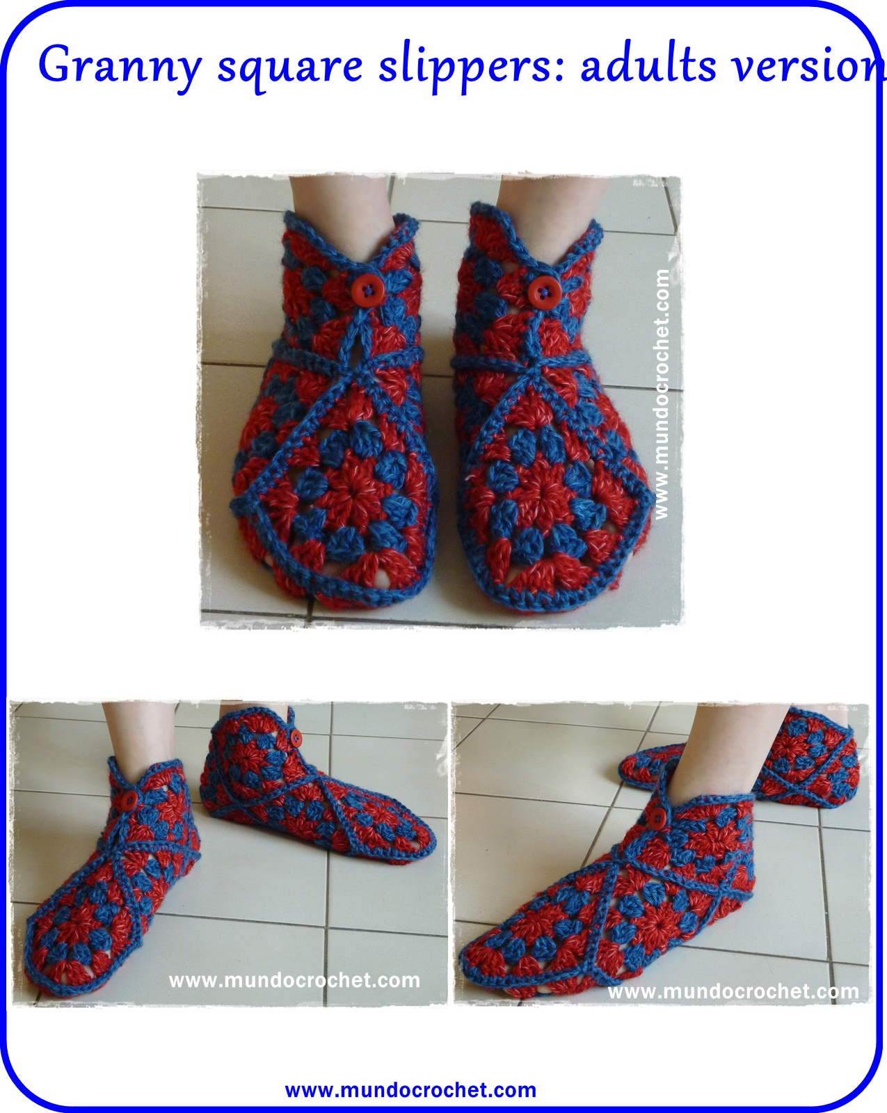 Granny Crochet Square Slippers Squarecrochetmotifpatterndiagram Free Pattern And Tutorial