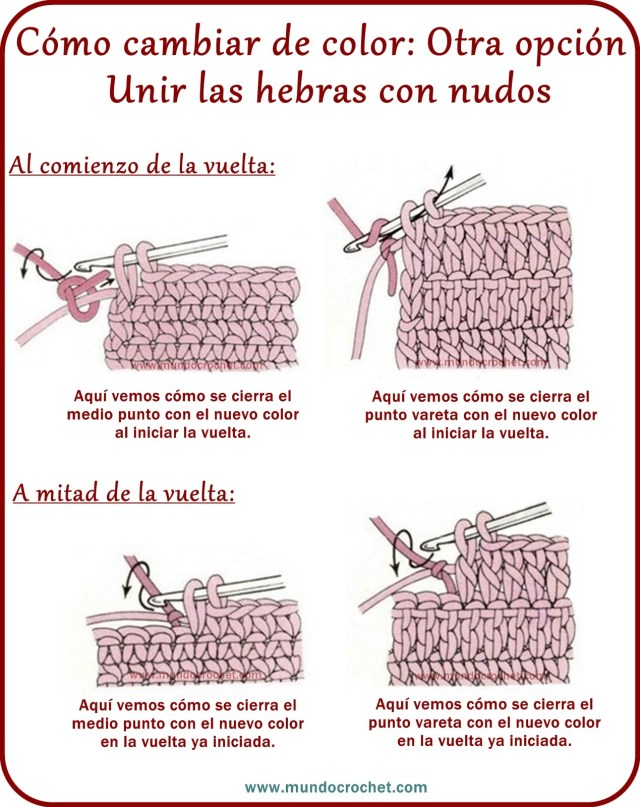 Como realizar cambios de color en crochet o ganchillo
