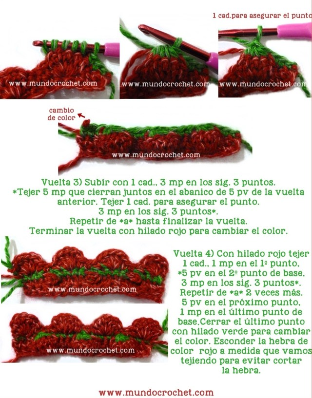 Punto frutilla o strawberry stitch a crochet o ganchillo paso a paso02