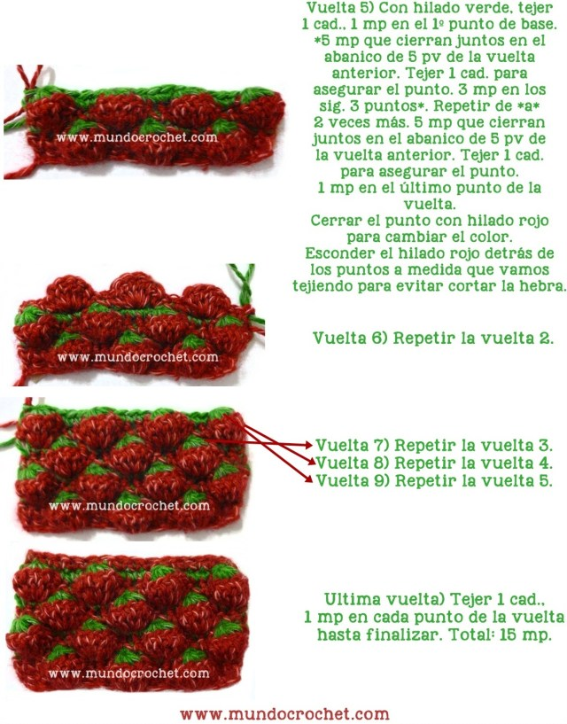 Punto frutilla o strawberry stitch a crochet o ganchillo paso a paso03