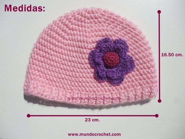 Patron gorro en punto media vareta inclinado a crochet o ganchillo