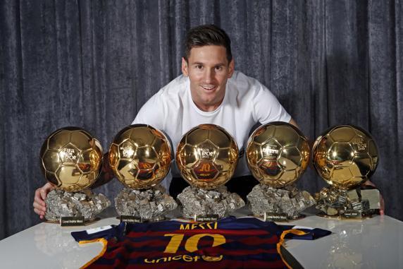 Resultat d'imatges de Messi 5 balones de oro