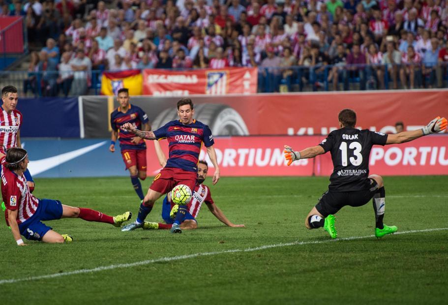 Futbol liga BBVA Atletico de Madrid FC Barcelona Foto Pere Punti gol messi