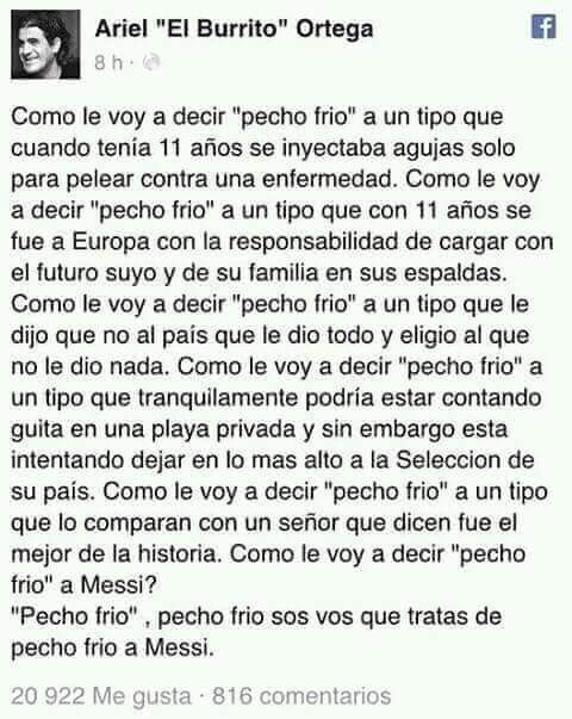 Mensaje de Ariel Ortega para Leo Messi en su cuenta de Facebook